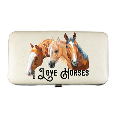 Ladies hard case purse wallet with mobile phone mount inside I love horses image view