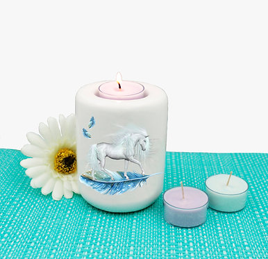 Ceramic tealight candle holder unicorn on blue feather image front view