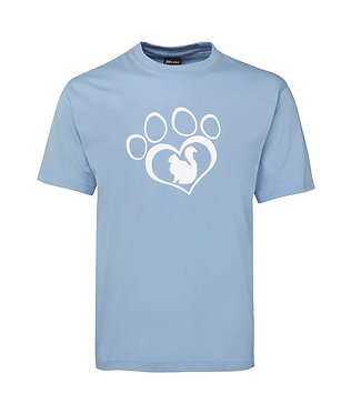 Adults t-shirt light blue cat in paw print image front view