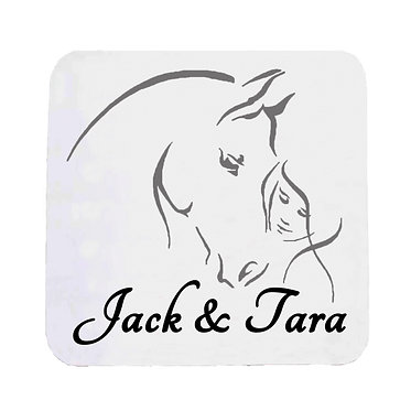 Personalised neoprene drink coaster girl and horse together black grey image front view
