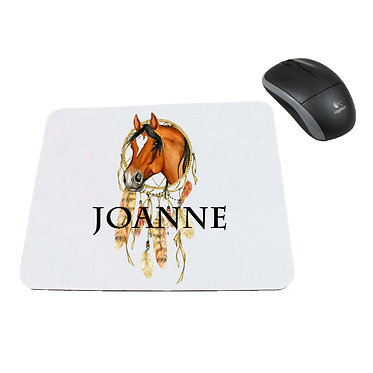 Neoprene computer mouse pad personalised with three horses image front view
