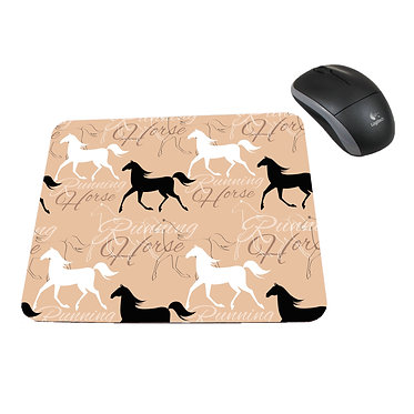 Neoprene computer mouse pad running horse pattern image front view