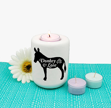 Ceramic tealight candle holder with black and white donkey love image front view