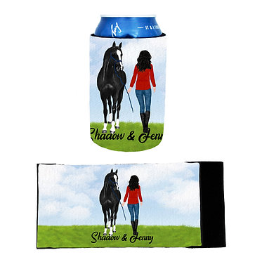 Personalised neoprene stubby cooler black haired girl and horse image front and flat view