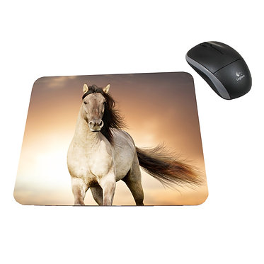 Neoprene computer mouse pad buckskin horse cantering image front view