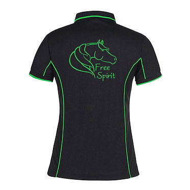 Ladies horse pipping polo shirt black green free spirit horse image back view
