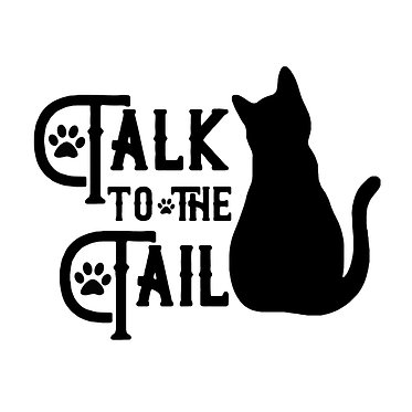 Cat vinyl decal sticker with quote talk to the tail in black front view
