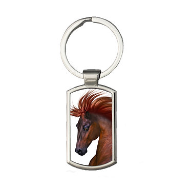 Rectangle metal key-ring chestnut horse with flowing main image front view