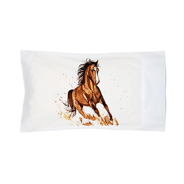 Pillowcase white beautiful brown horse cantering image front right view