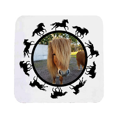 Neoprene drink coaster horse personalized with photo and round horse pattern boarder around photo front view