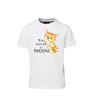 Kids cotton t-shirt cute kitty you had me at meow image front view