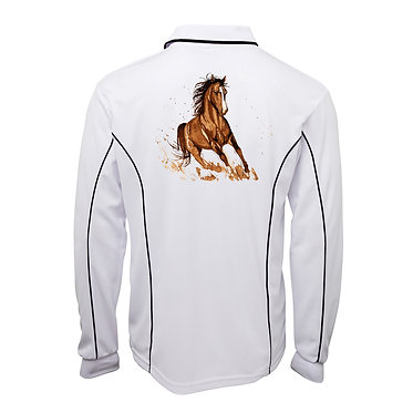 Adults long sleeve polo shirt white brown horse image back view