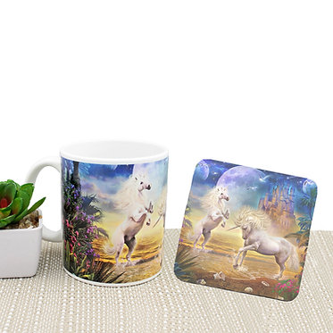 Fantasy unicorns in water image coffee mug and coaster set front view