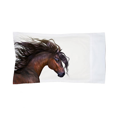 Pillowcase white with beautiful bay horse image front right view