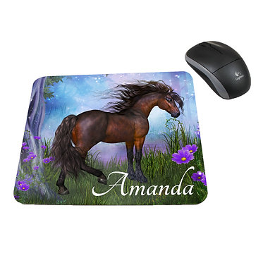 Neoprene computer mouse pad personalised magical horse image front view