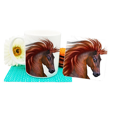 Horse with flowing main mug and coaster set