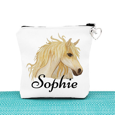 White cosmetic toiletry bag with zipper personalised watercolour horse image front view