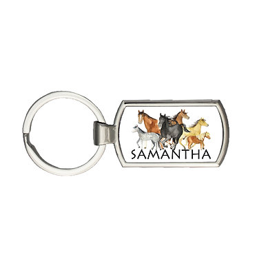 Personalised rectangle shape metal key-ring group of horses image front view