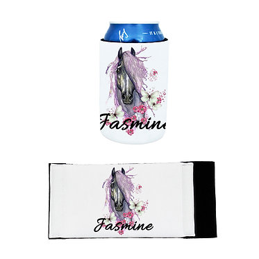 Personalised neoprene stubby cooler purple horse image front and flat view