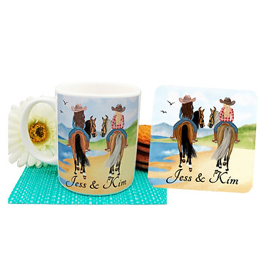 Personalised ceramic coffee mug and coaster set best friends beach horse riding image front view