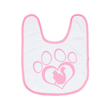 Babies bib with pink trim and cat in heart paw print image front view