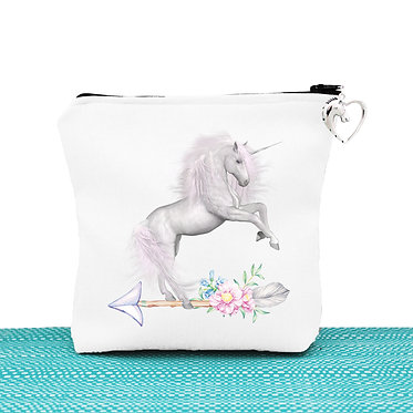 White cosmetic toiletry bag with zip white unicorn on arrow image front view