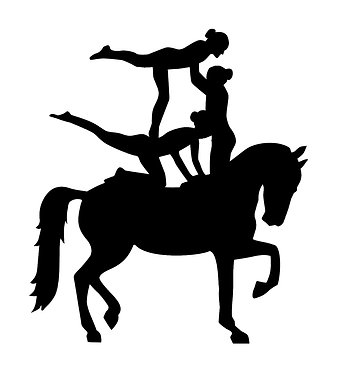 Vaulting horse and three riders vinyl decal sticker in black front view