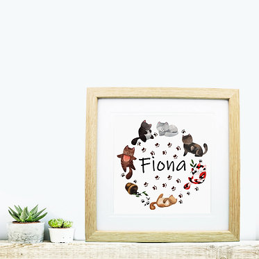 Square wood picture frame personalized with a circle of cute cats t image front view