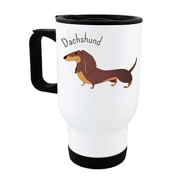 Dog themed insulated travel mug with dachshund front view