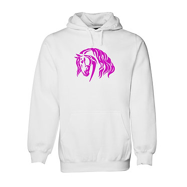 Hoodie jumper adults white with hot pink beautiful heavy horse image front view
