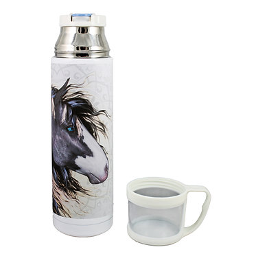 Thermos flask drink travel bottle 500ml stainless steel with cup off black and white paint horse image front view