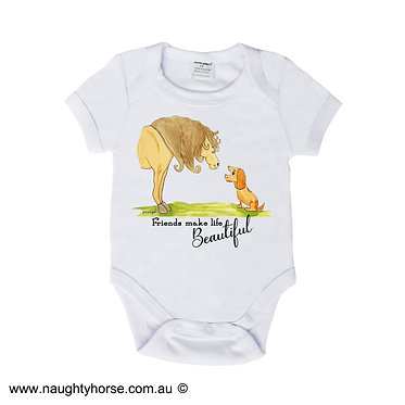 Baby romper play suit white with horse and dog friendship image front view