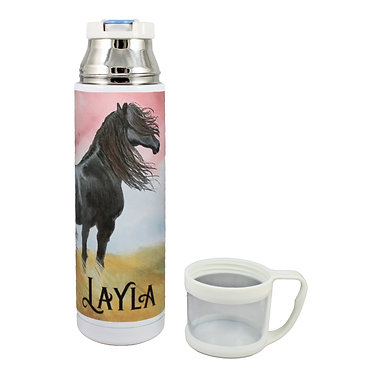 Personalised thermos flask drink travel bottle stainless steel black horse image lid off front view