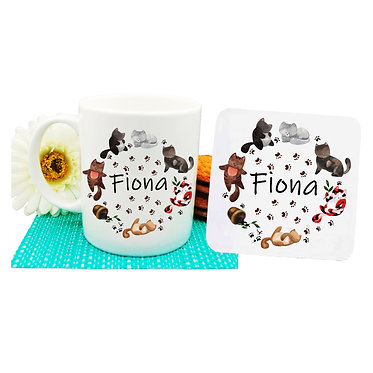 Ceramic coffee mug and drink coaster set personalized with cats in circle image front view