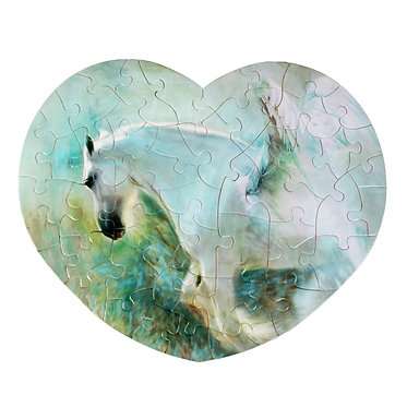 Heart shape jigsaw puzzle small white horse with wings image front view