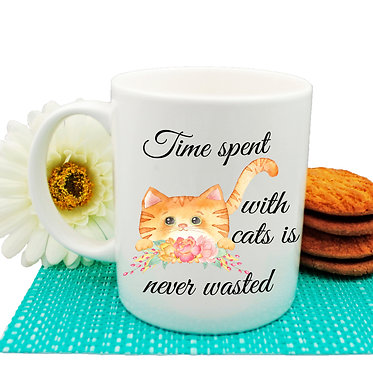 "Ceramic coffee mug ginger cat and quote ""Time spent with cats is never wasted"" image front view"