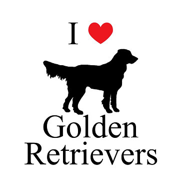 I love golden retrievers decal sticker in black front view