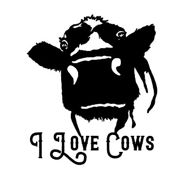 Cow vinyl decal sticker with quote i love cows in black front view