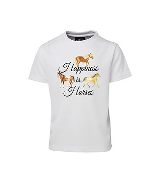 Kids cotton t-shirt happiness is horses image front view