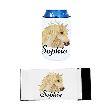 Personalised neoprene stubby cooler watercolour horse image front and flat view