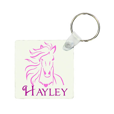 Square MDF wood key-ring horse with flowing mane hot pink image front view