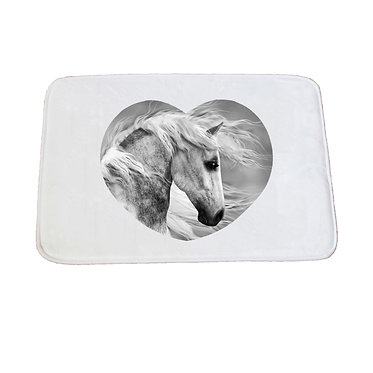 Non-slip bath mat white beautiful white horse image front view