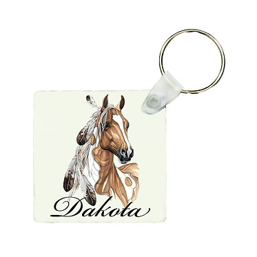 Personalised square MDF wood key-ring paint horse with feathers image front view