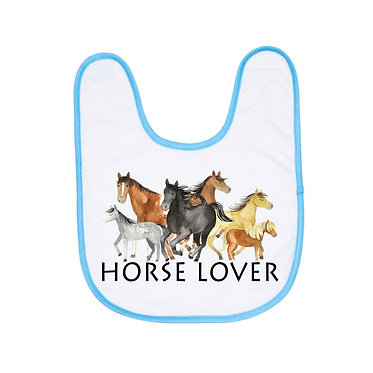 Blue and white baby bib horse lover image front view
