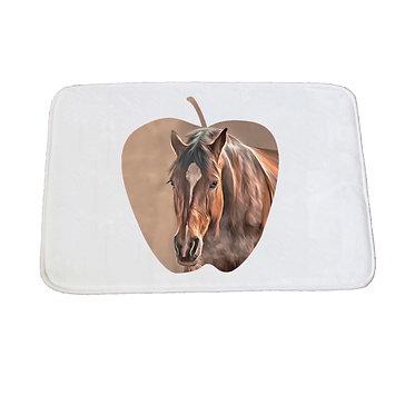 Non-slip bath mat white bay brown horse front view