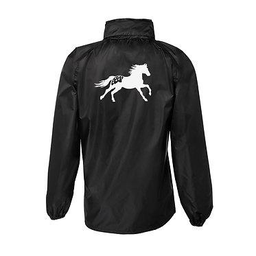 Rain sheet adults black with white Appaloosa horse image back view