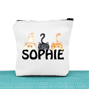 White cosmetic toiletry bag with zipper personalized with name and three cute cats image front view