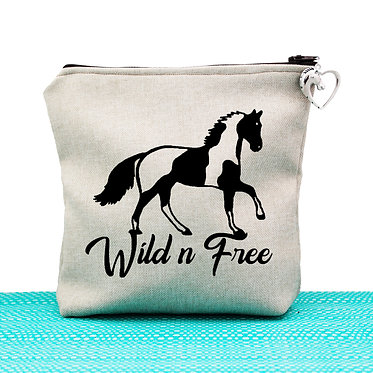 Tan cosmetic toiletry bag with zipper wild n free paint horse image front view