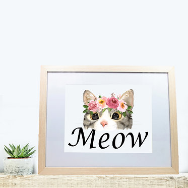 Rectangle wood picture frame cat meow image front view