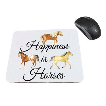 Neoprene computer mouse pad happiness is horses image front view